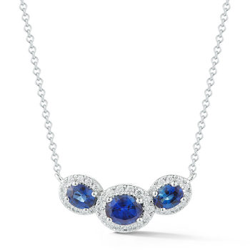 0.70ctw Oval Cut Blue Sapphire and Diamond Pendant, 18ct White Gold