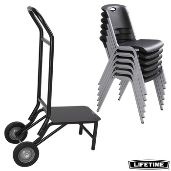 Lifetime Stacking Chair - 14 Pack, with 1 Chair Trolley