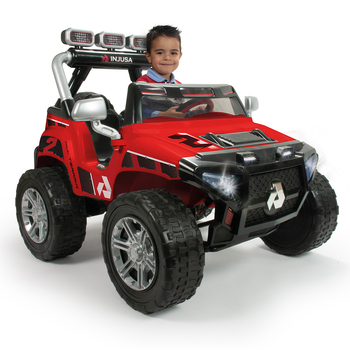 Injusa Monster 24V Electric Ride On Jeep in Red (6+ Years)