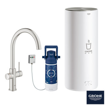 GROHE RED 3-in-1 Hot Water Home Kitchen Tap, Supersteel C-Spout with 7 Litre Boiler - Model 30328DC1