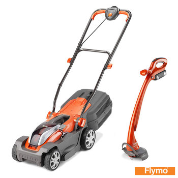"Flymo Mighti-Mo 300 Li 40V 11"" (30cm) Push Propelled Cordless Battery Lawn Mower + Mighty Mo Grass Trimmer"