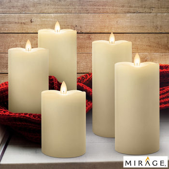 Mirage LED Wax Candles with Remote & Timers, 5 Pack