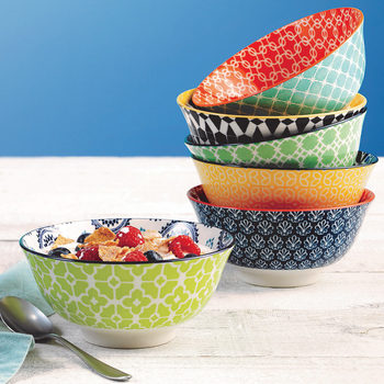 Patterned Porcelain Bowls, 6 Pack