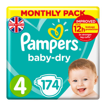 Pampers Baby Dry Nappies Size 4, Monthly 174 Pack