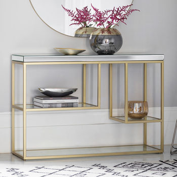 Pippard Console Table with Mirrored Top, Champagne