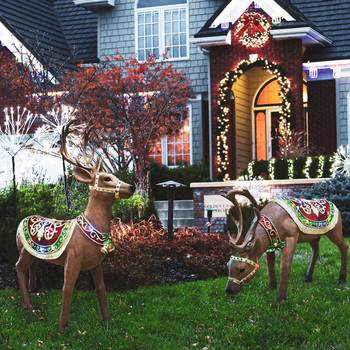 Indoor/Outdoor 4ft (124cm) Christmas Lifesize LED Reindeers - Set of 2