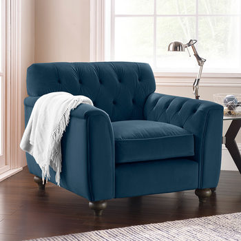 Avante Button Back Velvet Armchair, Indigo Blue