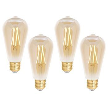 4lite WiZ Connected E27 Vintage Gold Smart Bulbs, 4 Pack