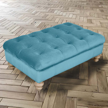 Chesterfield Velvet Buttoned Footstool in 5 Colours