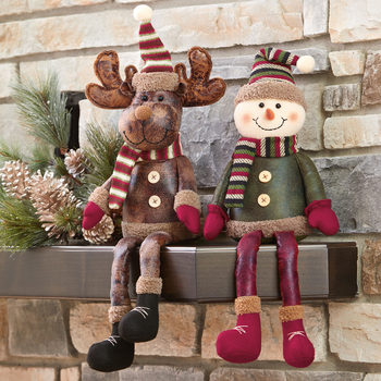 Christmas Leather-Look Shelf Sitters Moose and Snowman