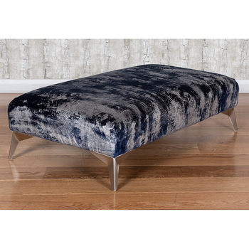 Roko Blue and Silver Velvet Accent Footstool