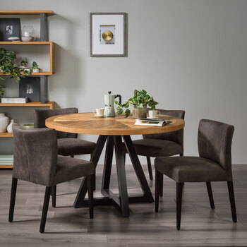 Bentley Designs Chevron Rustic Oak Round Dining Table + 4 Fabric Chairs, Seats 5