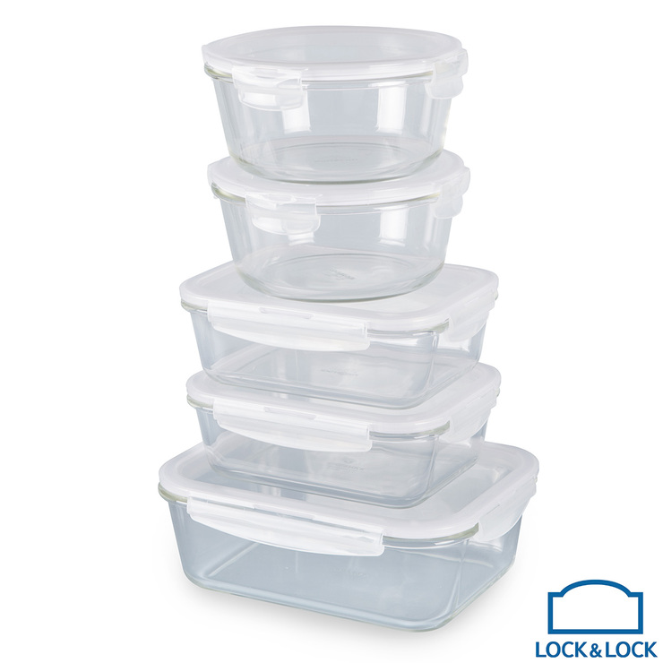LOCKLOCK Oven Glass Food Storage Containers 5 Piece Set With Lids