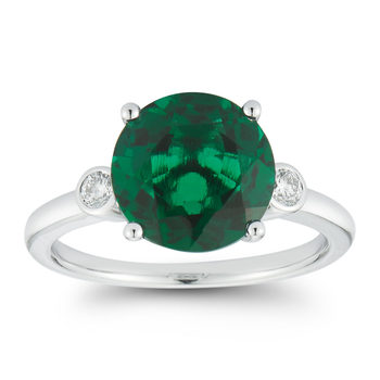 Round Cut Lab Emerald and 0.13ctw Diamond Ring, 18ct White Gold