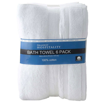 Grandeur 100% Cotton Hospitality Bath Towels, 6 Pack