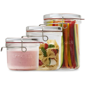 Luigi Bormioli Lock-Eat Glass Frigo Jars, 3 Piece Set with Lids