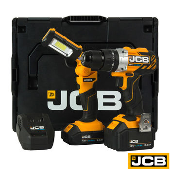 JCB Tools Professional 18V Brushless Combi Drill Kit with 2 Lithium-ion Batteries