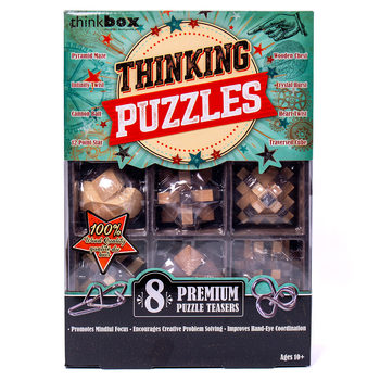 Think Box Thinking Puzzles With 8 Wooden and Iron Teasers (10+ Years)