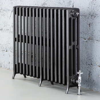 Arroll Edwardian 4 Column (475 x 992mm) 16 Section Cast Iron Radiator in 2 Colours with Chrome or Copper Thermostatic Valves