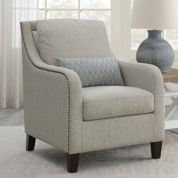 True Innovations Sydney Grey Fabric Accent Chair with Accent Pillow