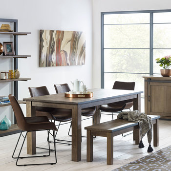 Barnyard Reclaimed Wood Dining Table with Bench + 4 Scoop Chairs