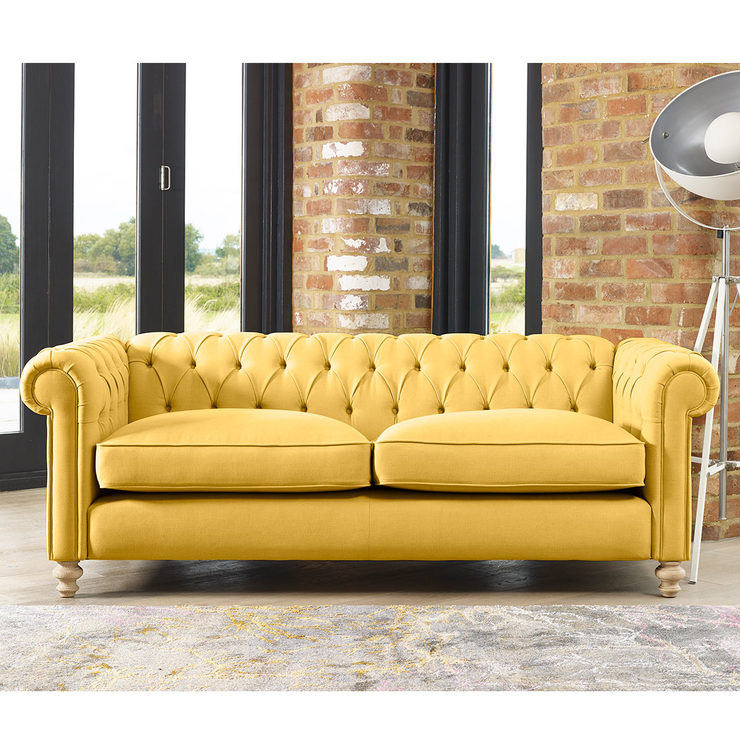 Chesterfield Button Back 3 Seater Fabric Sofa In 5 Colours Costco Uk