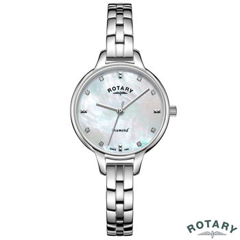 Rotary Ladies Stainless Steel Bracelet Watch with Diamond Accents LB00105/41/D