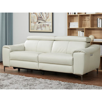 Kuka Warren 3 Seater Light Grey Leather Power Reclining Sofa