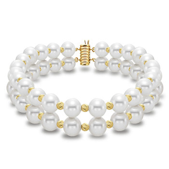 7-7.5mm Cultured Freshwater White Pearl 2 Strand Bracelet, 18ct Yellow Gold