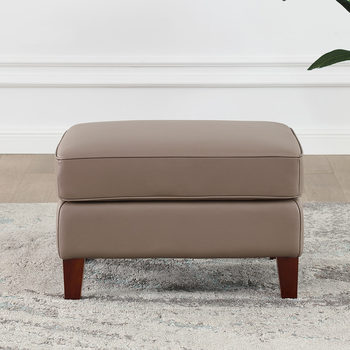 West Park Taupe Leather Footstool