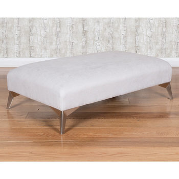 Roko Cosmo Silver Fabric Accent Footstool