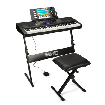 RockJam RJ761, Portable Keyboard Bundle in Black