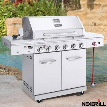 Nexgrill 7 Burner Stainless Steel Gas BBQ Grill + Side Burner + Rotisserie Kit + Cover