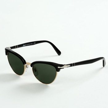 Angled View of Persol Black and Gold Sunglasses with Green Lenses, PO3198/S 95/31