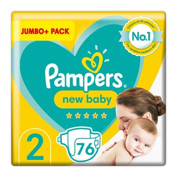 Pampers New Baby Nappies Size 2, Jumbo+ 76 Pack