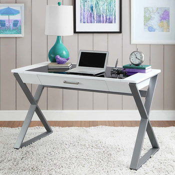 Bayside Furnishings Writing Desk with Tempered Glass Top & Storage Drawer