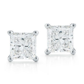 1.39ctw Princess Cut Diamond Earrings, 18ct White Gold