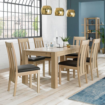 Bentley Designs Turin Aged Oak Extending Dining Table + 6 Slatted Back Chairs