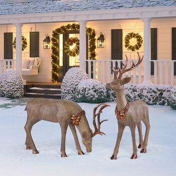 4ft 5 Inches (1.4 m) Set Of 2 Standing And Feeding Christmas Reindeer