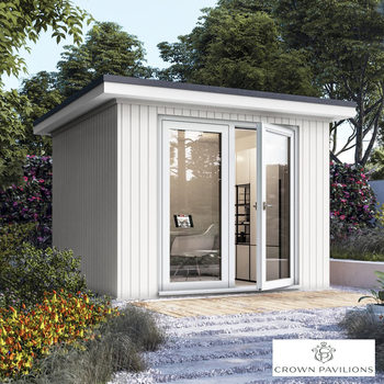 "Installed Crown Pavilions 9ft 10"" x 9ft 10"" (3 x 3m) Hardwood Garden Room, Fully Insulated, Double Glazed and Pre-Wired"