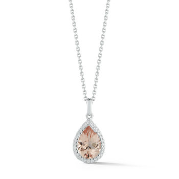 1.60ct Pear Cut Morganite and 0.11ctw Diamond Pendant, 18ct White Gold