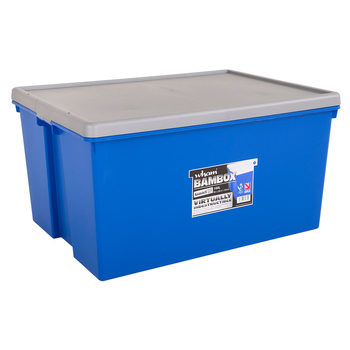 Wham Bam 150 Litre Heavy Duty Plastic Storage Box & Lid in Blue/Silver - 2 Pack