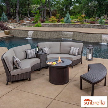 SunVilla Riviera 5 Piece Woven Fire Sectional Seating Set