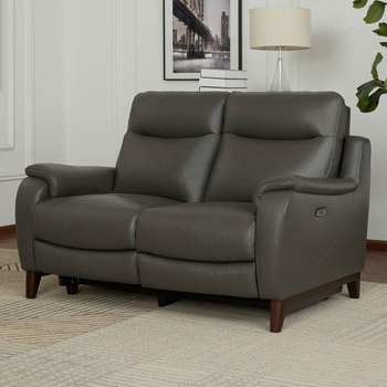 Gilman Creek Barrett 2 Seater Grey Leather Power Reclining Sofa with Power Headrests