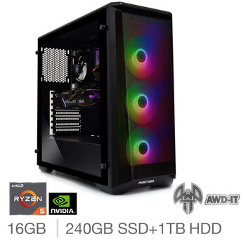 AWD-IT Ranger 5 Elite, AMD Ryzen 5, 16GB RAM, 240GB SSD  + 1TB HDD, NVIDIA RTX 2060, Gaming Desktop PC