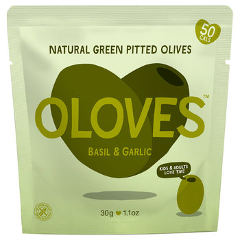 Oloves Basil & Garlic Natural Green Pitted Olives, 20 x 30g