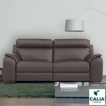 Calia Italia Grey Italian Leather Serena 3 Seater Power Recliner Sofa