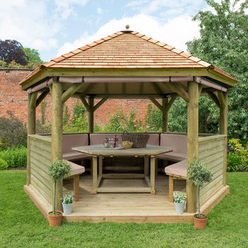 "Installed Forest Garden 11ft 7"" x 13 ft 4"" (3.5 x 4.01m) Wooden Hexagonal Gazebo + Dining Set (Seats 15)"