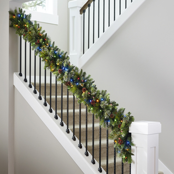 9ft (2.7 m) Pre-Lit Decorated Artificial Garland With 90 Dual Colour LED Lights