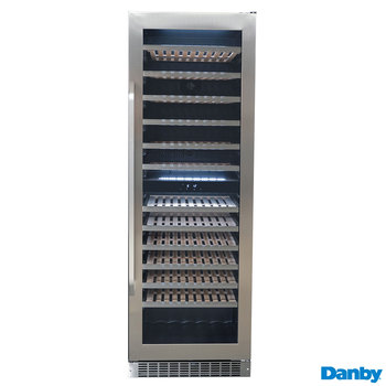 Danby DWC398KD1BSS, 129 Bottle Freestanding, Dual Zone Wine Cooler in Stainless Steel